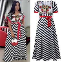 African dresses for women Summer 2018 Woman Stripe Embroidered Rose floral long  maxi Dresses elegant plus size dress d73f148a62c3