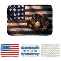 The United States Flag Doormat Happy 4Th Of July Baseball Fan Home Soft Door Mats Indoor