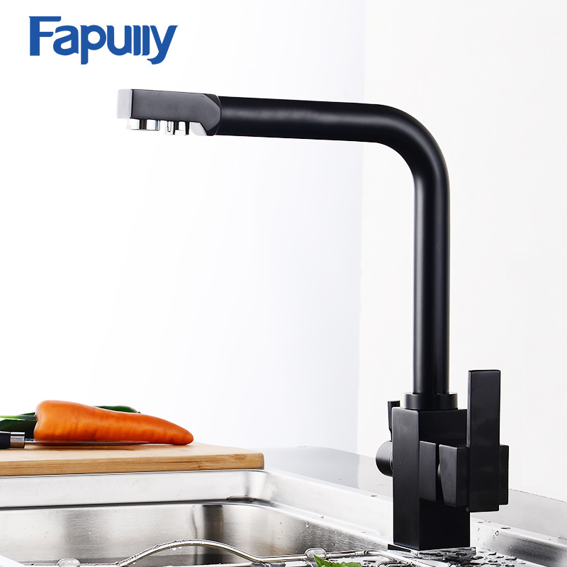 Fapully Black Brass Kitchen Faucet Mixer Sink Tap Cold and Hot Kitchen Modern Drinking Water 3 Way Filtered Faucet Mixer 574-33 100% brass chrome polished hot and cold water purifier tap 3 way kitchen sink mixer faucet 2 holes drinking water tap kf042