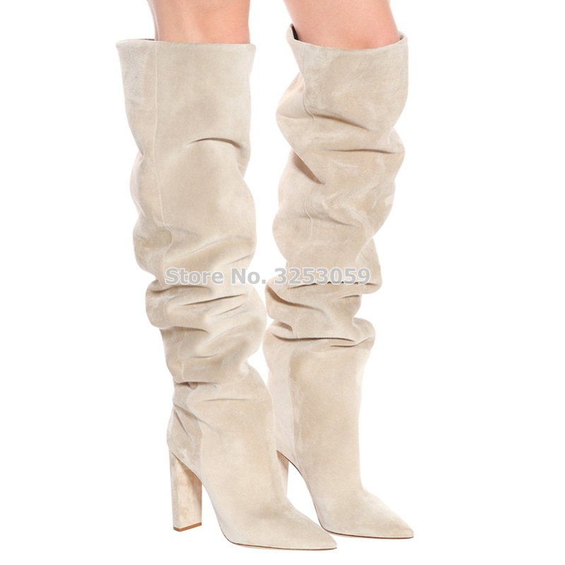 ALMUDENA Top Brand Women Beige Gray Suede Pleated Long Boots Chunky Heels Outside Fall Winter Shoes Dress Pumps Dropship BigSize pleated frill trim tube top