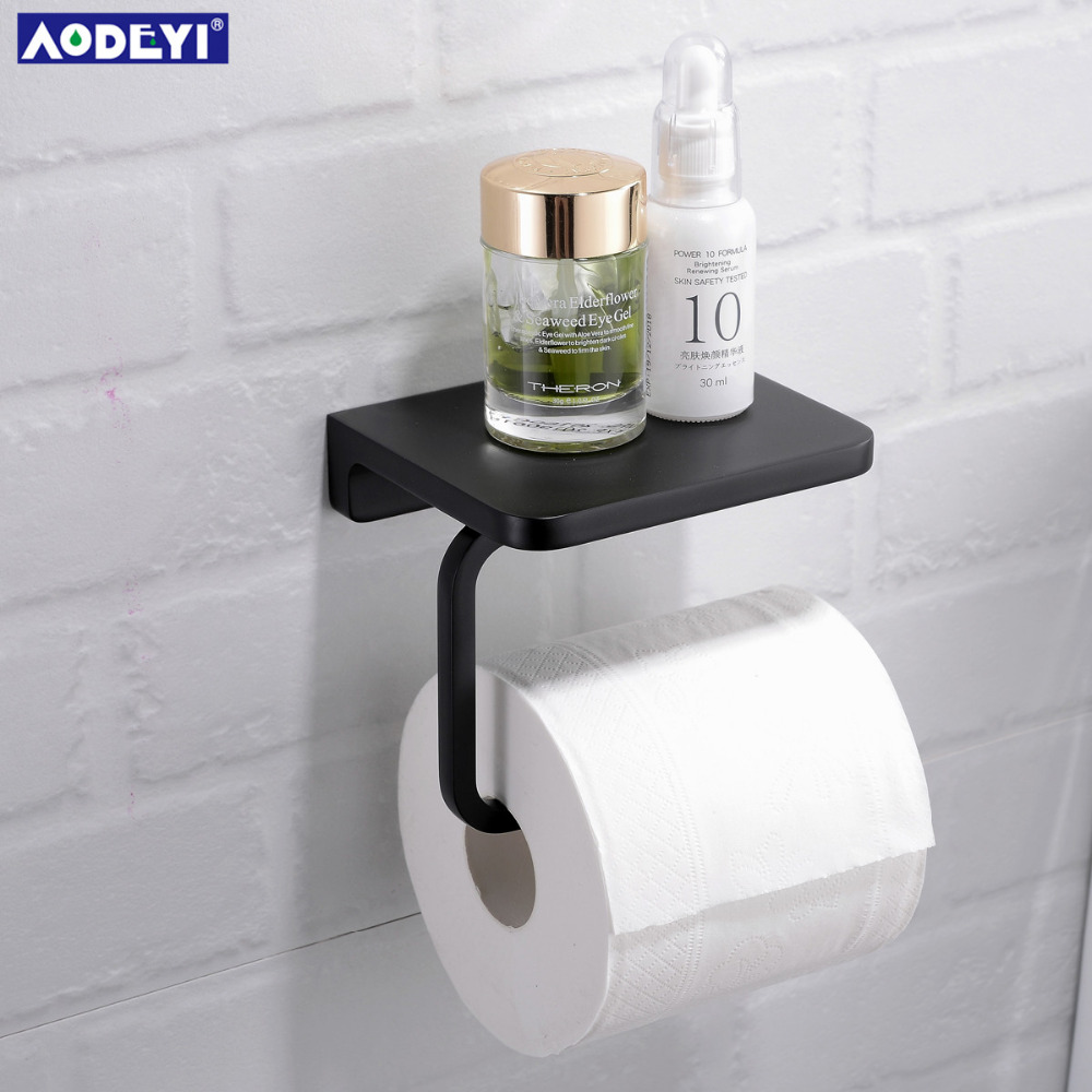 AODEYI Brass Toilet Paper Holder Tissue Hanger Bathroom Rolling Paper Holder Phone Shelf Matte Black Chrome Gold Wall Mount Hold 2016 newest verto toilet paper holder bathroom abs surface double tissue accessories quality wc soap holder can hold phone z3