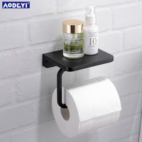 AODEYI Brass Toilet Paper Holder Tissue Hanger Bathroom Rolling Paper Holder Phone Shelf Matte Black Chrome Gold Wall Mount Hold