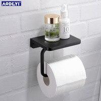 Pirinç Tuvalet Kağıdı Tutucu Doku Askı Banyo Rolling Kağıt Tutucu Telefon Raf, Mat Siyah veya Krom