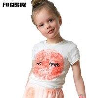 2016 Nova Impressão Digital Impressão Branco T-shirt das Crianças Do Bebê Menino Encabeça Algodão Unisex Criança Verão Camisas de Manga Curta para o Bebê menina