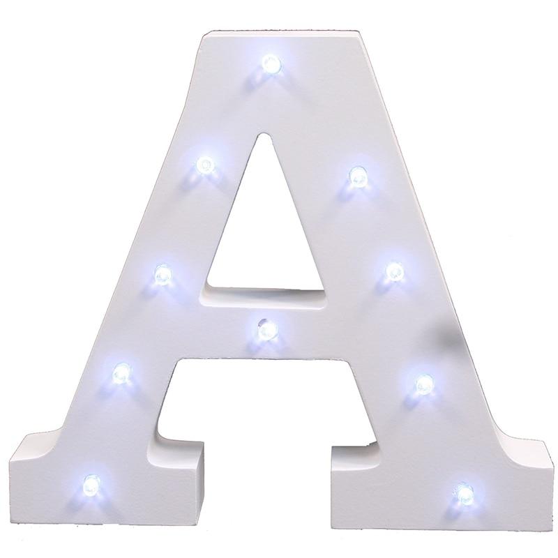 Ζεστό λευκό ξύλινο γράμμα LED Marquee Sign - Φωτιστικό νύχτας - Φωτογραφία 3