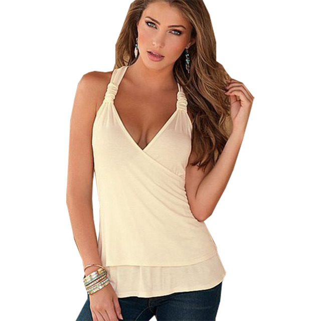 d8ee45da4a9821 Western T Shirt Women New Summer Vest V-neck Stitch Lace Hanging Neck  Harness women s T-shirt Halter Clothing Vestidos LBD8068