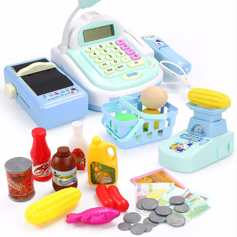 Mini Simulated Supermarket Checkout Counter Role play <font><b>Cashier</b></font> Cash Register Set Kids Pretend Play Early Educational <font><b>Toys</b></font> image