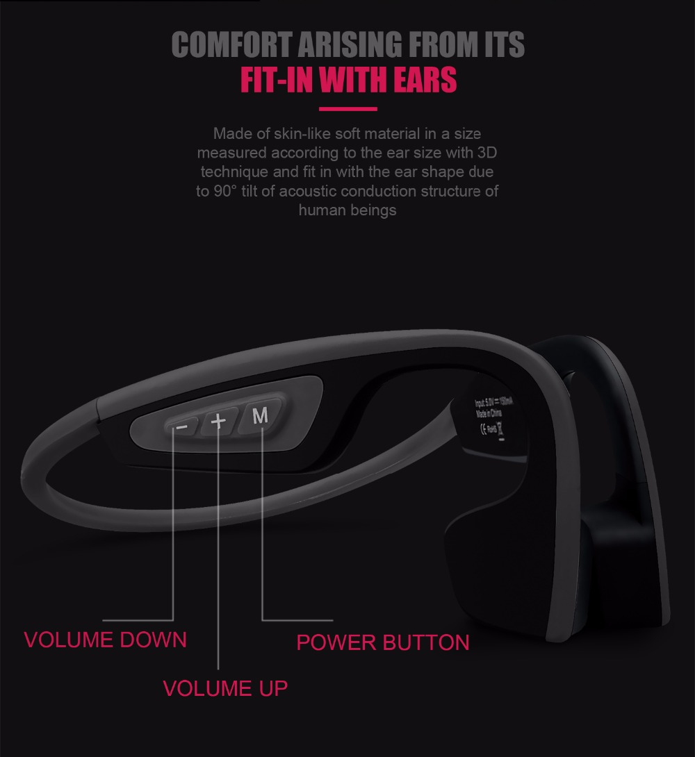 3colors S.Wear LF-19 Wireless Bluetooth Headset Waterproof Stereo Neck-strap Headphone Bone Conduction NFC Hands-free Earphone