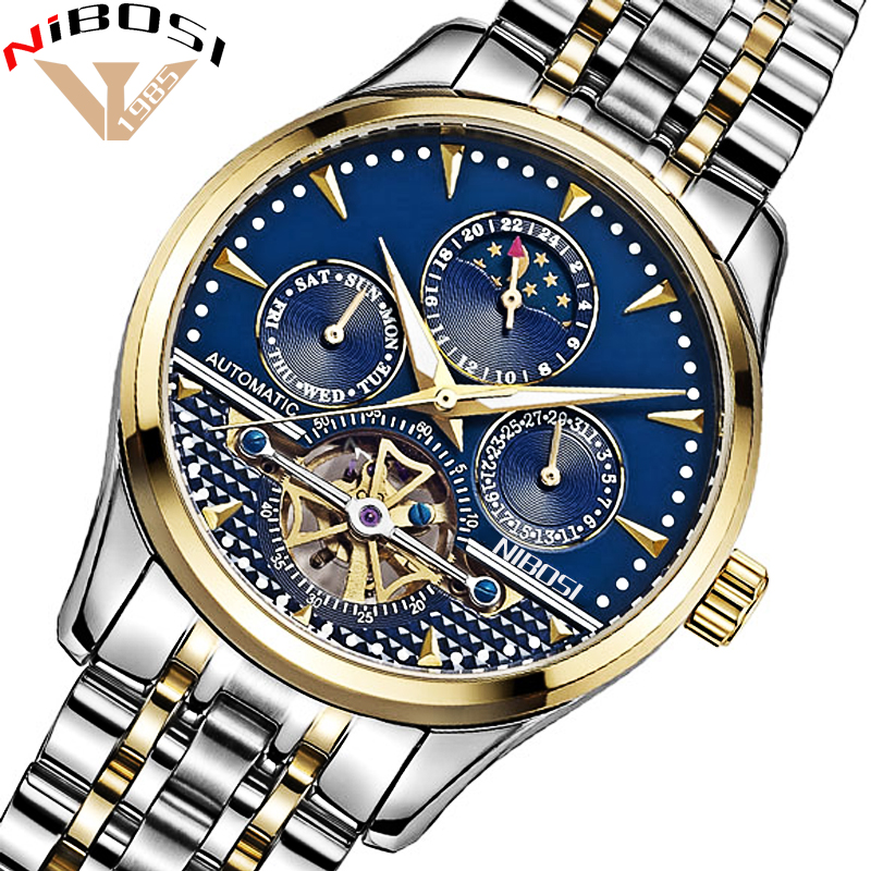 Relojes Hombre NIBOSI Business Mechanical Watches Mens Skeleton Tourbillon Automatic Watch Men Gold Steel Moon Phase Waterproof цена