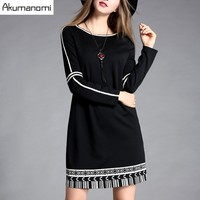Dress Full Sleeve Black National Style Ribbon Decorative Brief Fashion Women S Clothing Spring Autumn Dress