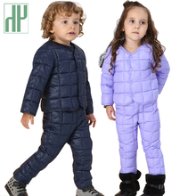 Children clothing Sets fall Kids winter clothes Cotton Down coat+Pants toddler boys clothing girls outfits Tracksuit Suit стоимость