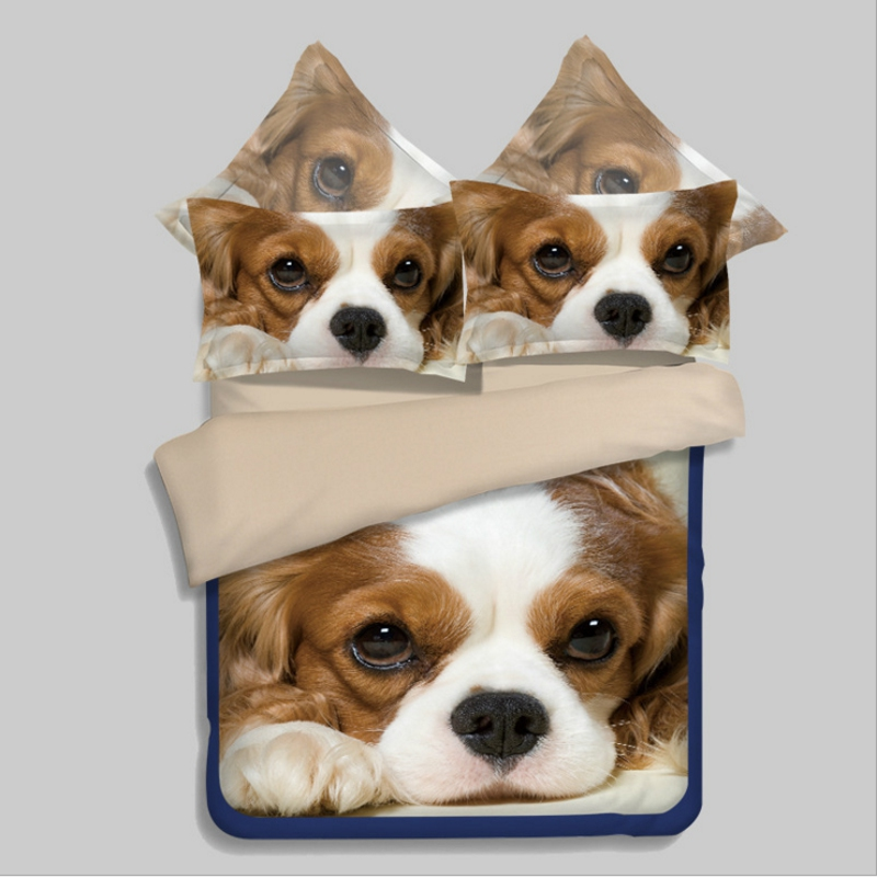 3d Puppy Dogs Cotton Bedding Set King Queen Size Duvet