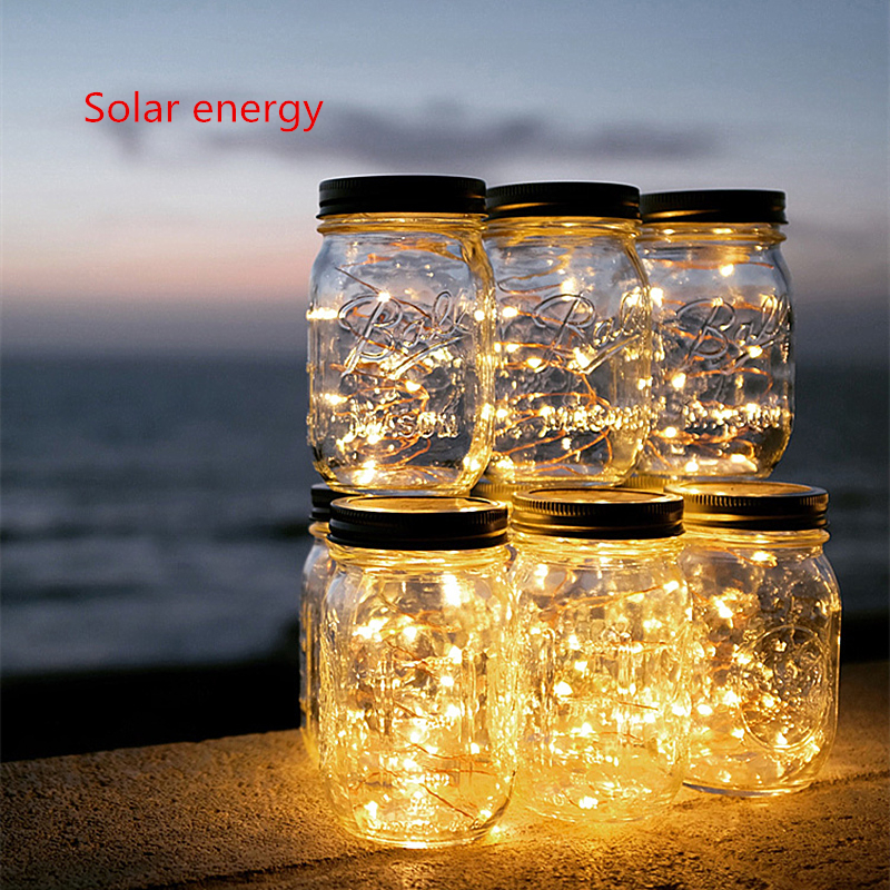 Glass Jar Cover Solar Light Garden Solar Panels Night Lamp Waterproof Copper String Lights Chritmas Decor Children's Night Light