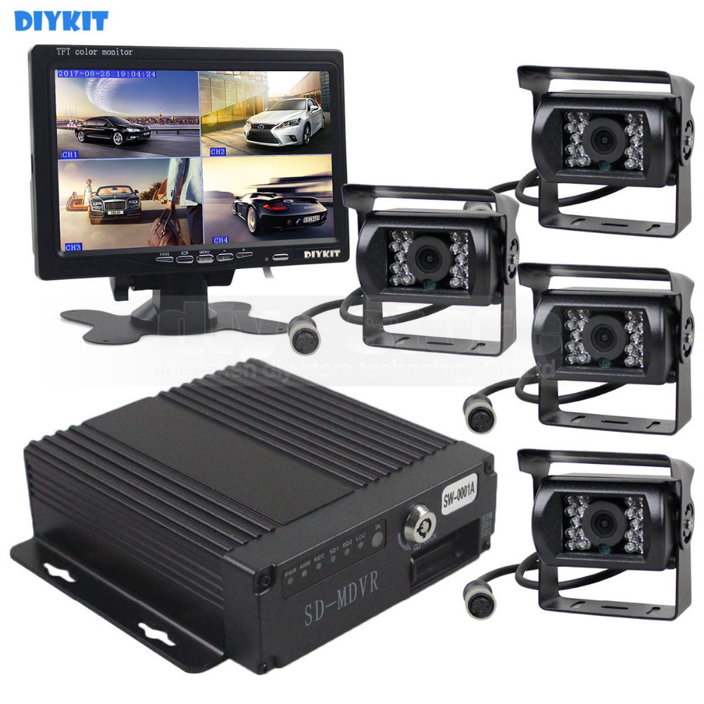 Car Backup Camera System Rearview Mirror with DVR Function 1080P HD 7 Inch Monitor Waterproof Night Vision Rear Veiw Camera for Truck Trailer Heavy Box RV Camper Bus 12V-36V