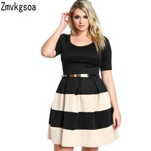 Zmvkgsoa Big Girl 3XL Casual Autumn Short Sleeve Apricot Stripes Detail Belted Plus Size Skater Dress Vestido de Festa M228061