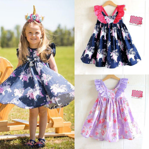 CANIS Baby Girls Dress Elegant Toddler Kid Baby Girls Unicorn Print Party Pageant Tutu Dress Sundress Flutter Sleeve Clothes цена