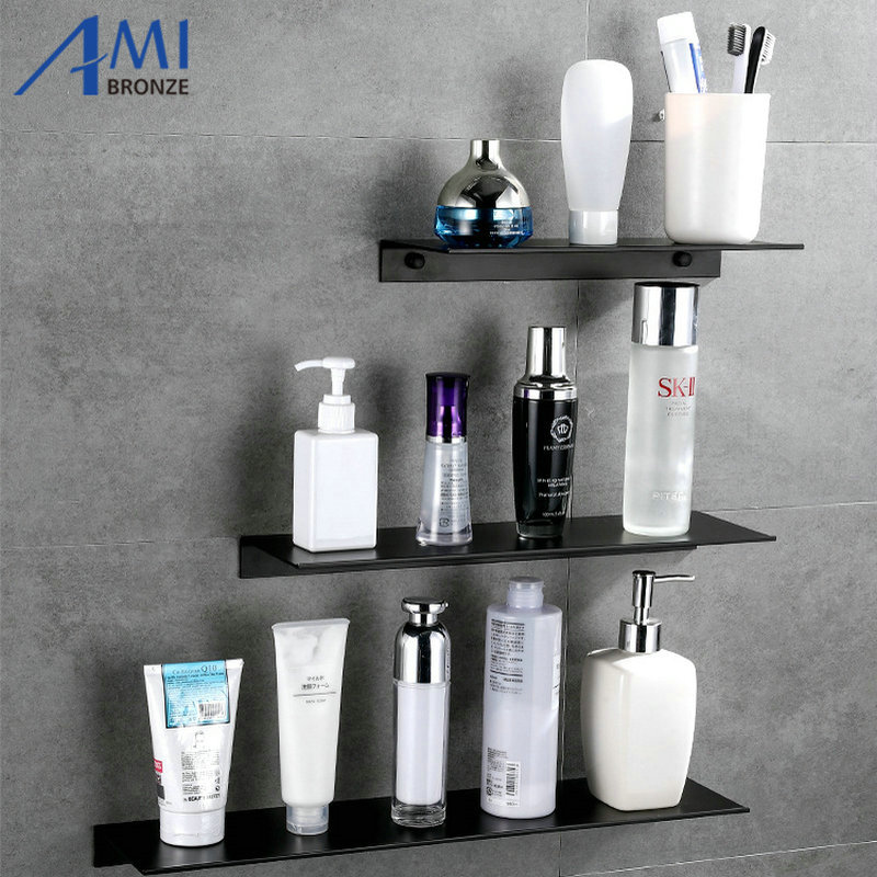 Black Space Aluminum Bathroom Shelves Single Tier Shelf Shampoo Shelf Kitchen Shelf Bathroom Rack