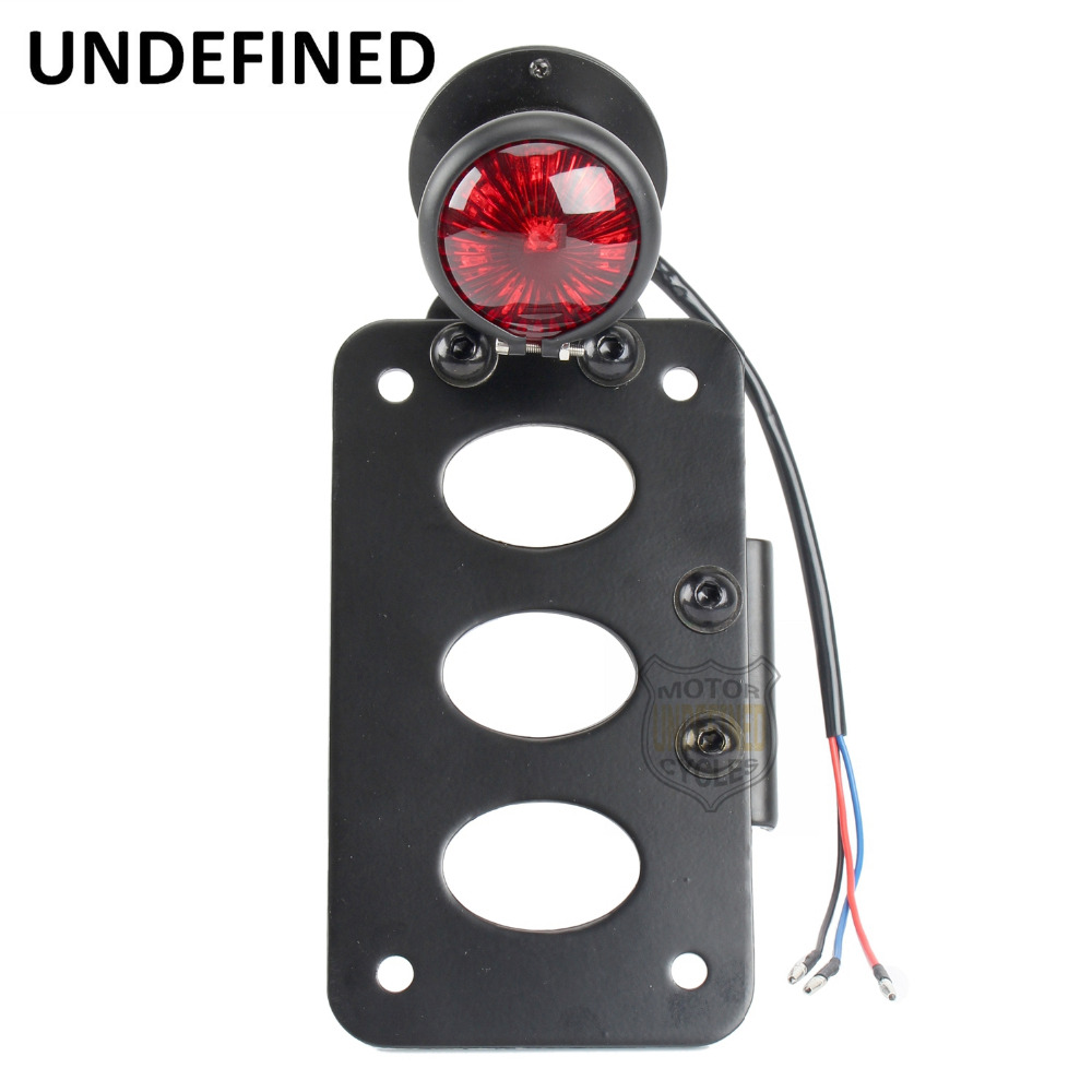 LED Side Rear Mount Number Motorbike Parts License Plate Bracket Brake Tail Light Bobber Chopper For Harley Sportster UNDEFINED