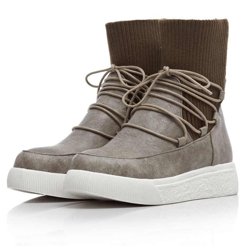 LZJ/2020 г. Новые зимние женские короткие ботинки повседневные толстые носки из матовой искусственной кожи с толстой подошвой и ремешками Большие размеры 35-43