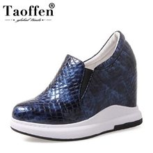 TAOFFEN Sexy Women'S Genuine Leather High Wedges Shoes Women