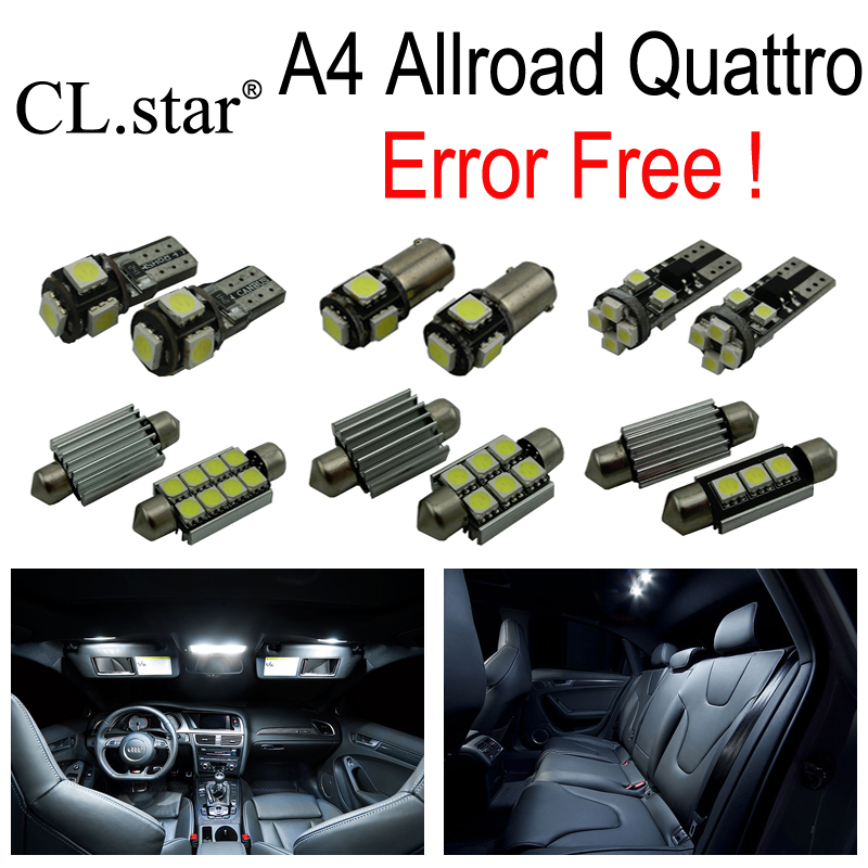 19pcs canbus error free LED bulb interior dome light kit package for Audi A4 Allroad Quattro (2009-2015) 15pc x 100% canbus led lamp interior map dome reading light kit package for audi a4 s4 b8 saloon sedan only 2009 2015