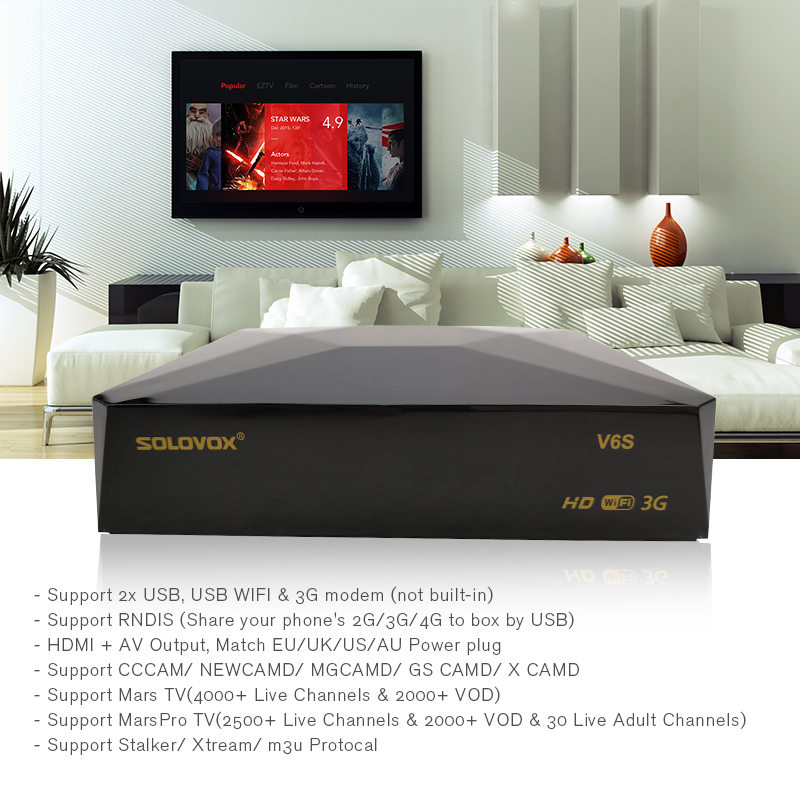 SOLOVOX V6S Satellite TV Receiver DVB-S2 IPTV Support M3U CCCAM Xtream  Stalker For Eu Fr UK USA European iptv plus CCCAM