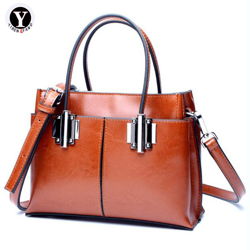 Yirenfang Genuine Leather Bags For Women Shoulder Bags Big Retro Fashion Women Messenger Bags Handbags Women Famous Brands стоимость