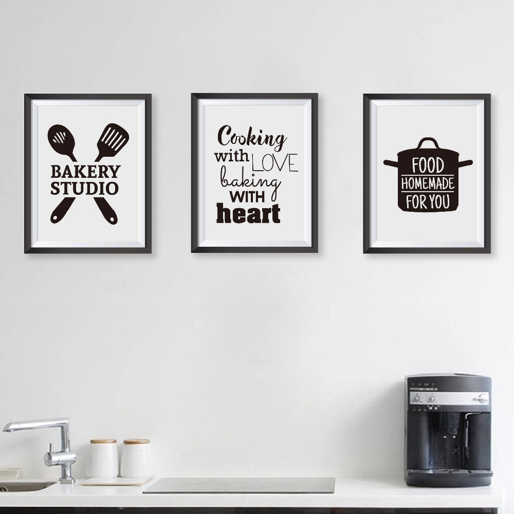 Cooking With Love Kitchen Quote Wall Art Prints And Poster , Baking With  Heart Canvas Painting Wall Pictures Home Kitchen Decor-in Painting &  Calligraphy ...