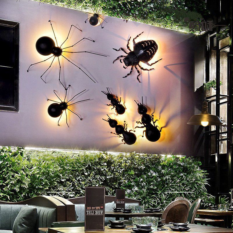 Background spider LED wall lamp creative retro industrial restaurant cafe aisle ant insect party decoration lamp Free Shipping background spider led wall lamp personality retro industrial restaurant cafe aisle ant insect decoration lamp free shipping
