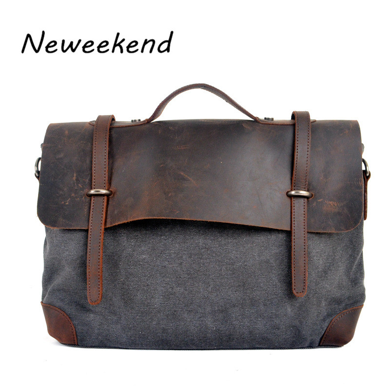 ФОТО NEWEEKEND Unisex Vintage Canvas Large Capacity Zipper Laptop Luggage Travel Crossbody Bag MS6896