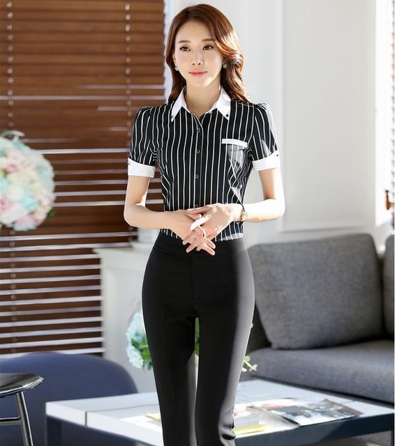 Moda Listrado Senhoras Ternos Formais de Trabalho Conjuntos Profissionais Terninhos Com Tops E Calças Calças Das Senhoras Calças Ternos Outfits