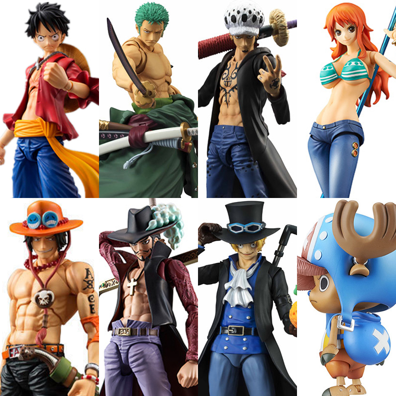 MegaHouse Variable Action Heroes One Piece Luffy Ace Zoro Sabo Law Nami Dracule Mihawk PVC Action Figure Collectible Model Toy