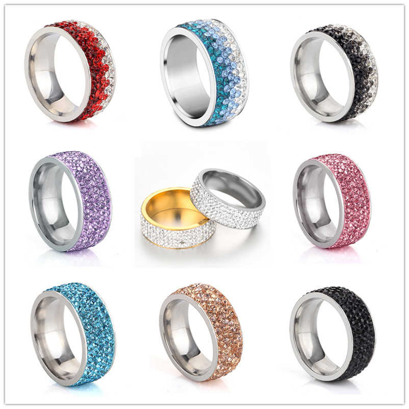 5 Rows Crystal Stainless Steel Ring Women for Elegant Full Finger Love Wedding Engagement Rings Jewelry Men Anillos Mujer