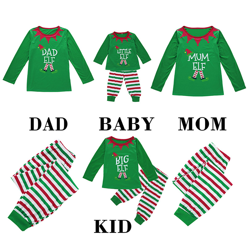 2019 New Christmas Family Pajamas Sets Striped Print Long Sleeve Blouse Pant Sleepwear Nightwear Outfit Family Christmas Costume