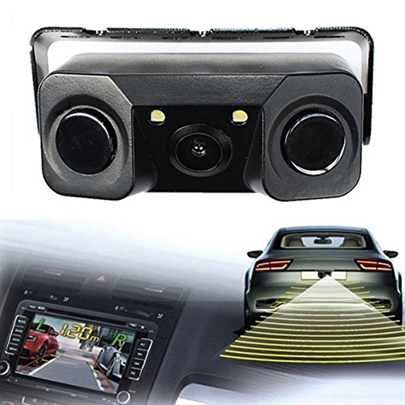 3 In 1 Auto Parktronic Video Parking Sensor Reverse Radar with 2 LED Night Vision HD