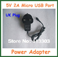 2pcs 5V 2A Micro USB Charger UK for Tablet PC Lenovo B6000 B8000 A1-07 Miix2) for Asus TF303 ME572 ME572CL ME572C ME581C FE171MG