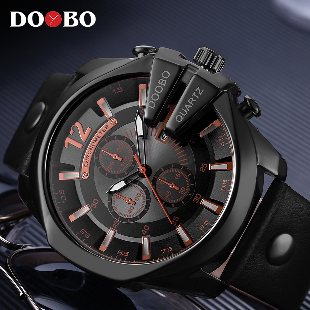 Relogio Masculino Big Dial Men DOOBO Watches Top Luxury Brand Black Quartz Military Wrist Watch Men Clock Men's Sports Watch New super speed v6 v0153 by check dial quartz wrist watch for men black yellow while 1 x lr626