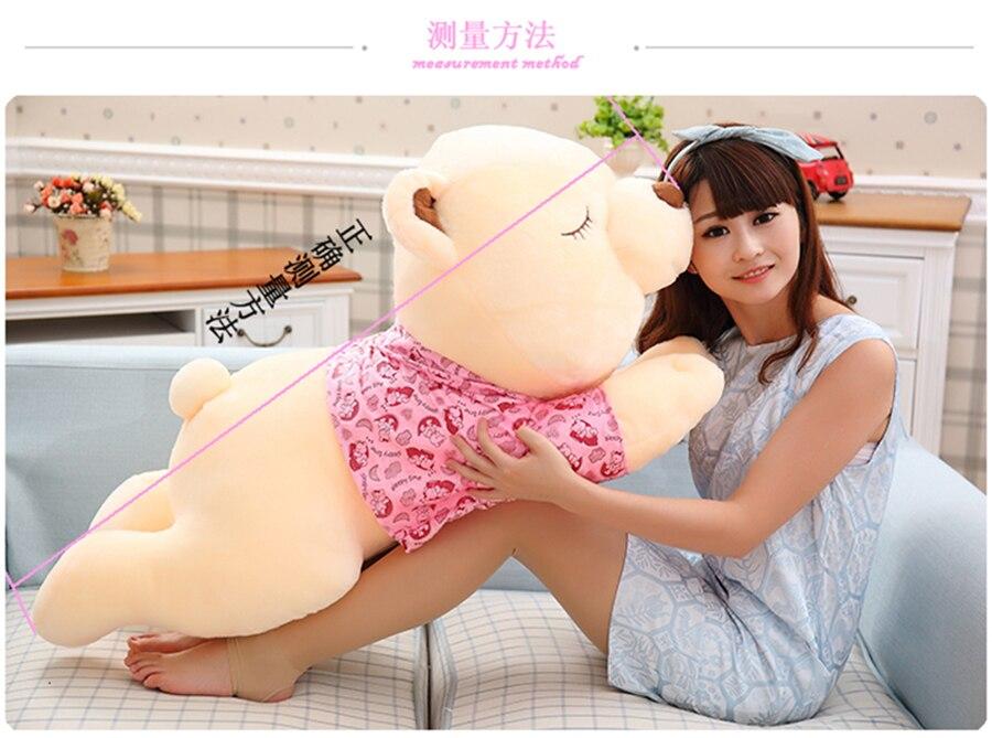 high quality goods large 120cm sleeping bear in coat plush toy ,soft hugging pillow bear.birthday gift d1147