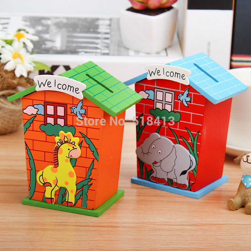Children Gifts Kindergarten Birthday Gift Students Prizes Piggy Bank Small Wooden House Simulation Cash Register Unisex In Furniture Toys From