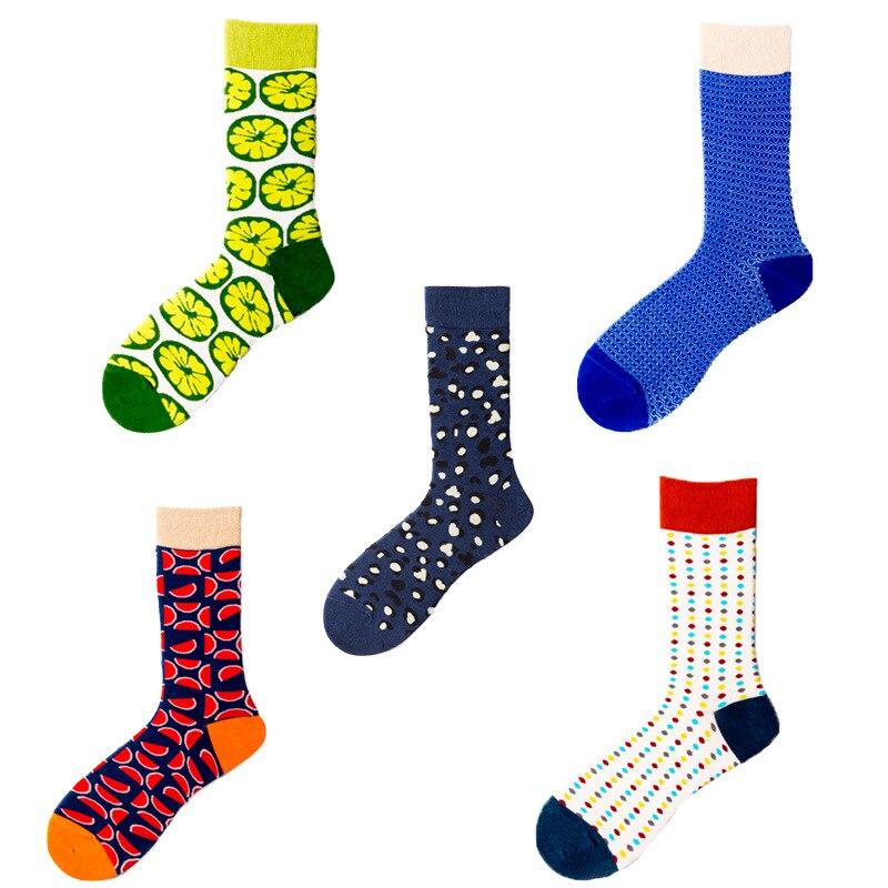2019 New Cotton Men's Socks Cartoon Funny Food Watermelon Orange Print Harajuku Happy Socks Men's Funny Socks S-8
