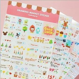 6sheets/pack DIY Cute Kawaii Cartoon Korean Girl Sticker for Scrapbook Decoration Diary office school supplies GT145