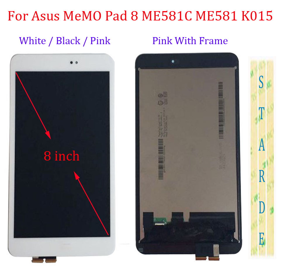 Starde 8'' LCD For Asus Memo Pad 8 ME581C ME581 ME581CL K015 K01H LCD Display Touch Screen Digitizer Assembly With Frame