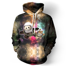 Hot Sell New Lover 3D Hoodies Space Panda Printed Sweatshirt Crewneck Pullover Couple Out Door Travel Coat Outwear Hooded Jacket