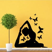 Yoga Posture Wall Art Decals Butterflies Vinyl Stickers Nursery Gym Sport