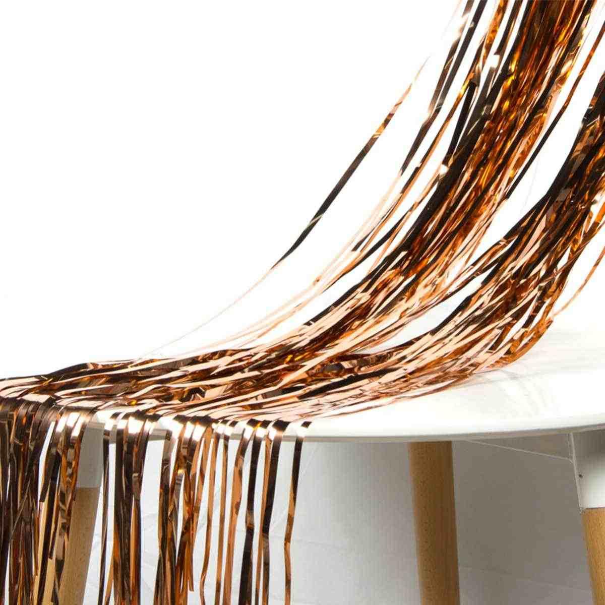 92*245cm ouro rosa folha metálica enfeites franja cortina festa de aniversário decoração casamento fotografia pano de fundo cortina foto prop