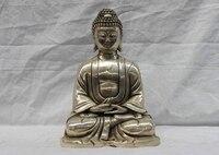 Chinês Temole Branco Cobre Prata Tibet Budismo Sakyamuni Buddha Statue|statue|statues buddha|statue tibet -