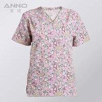 Free Shipping Print Short Sleeves Fashion Design Unisex Dental Scrubs Medical Gown Dental Spa Salon Medical