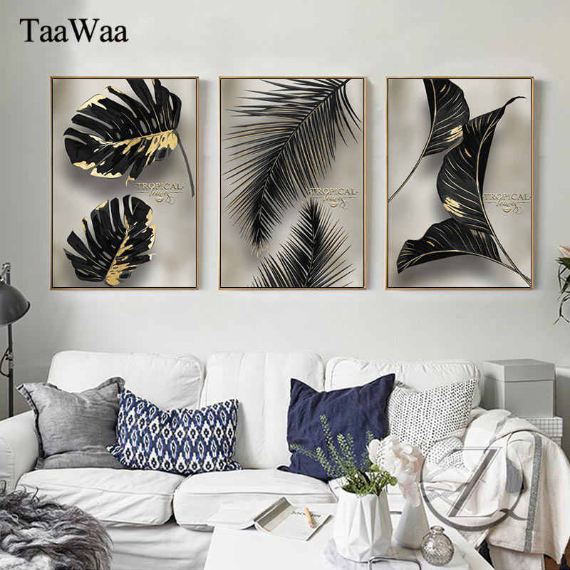 Tropical Plant Wall Art European Style Gold Foil Canvas Painting Print Minimalist Nordic Poster Pictures Home Living Room Decor