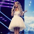 Puffy bola vestido curto Prom vestidos para venda apliques Tutu vestidos de festa Formal robe de soiree courte Blanc