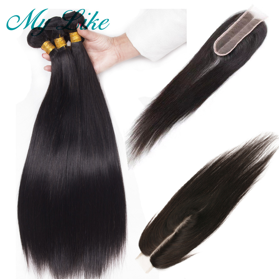 My Like Straight Hair Bundles With Closure 2x6 Brazilian Hair Weave Bundles Non-remy Human Hair Straight 3 Bundles With Closure